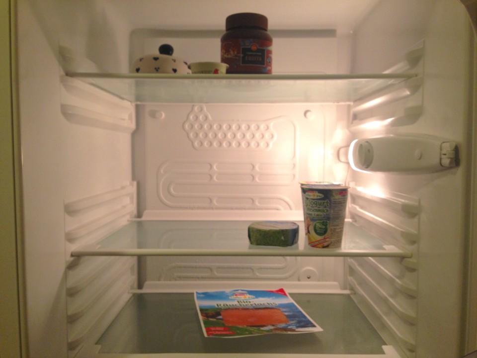 Leerer Kühlschrank vor der Walz