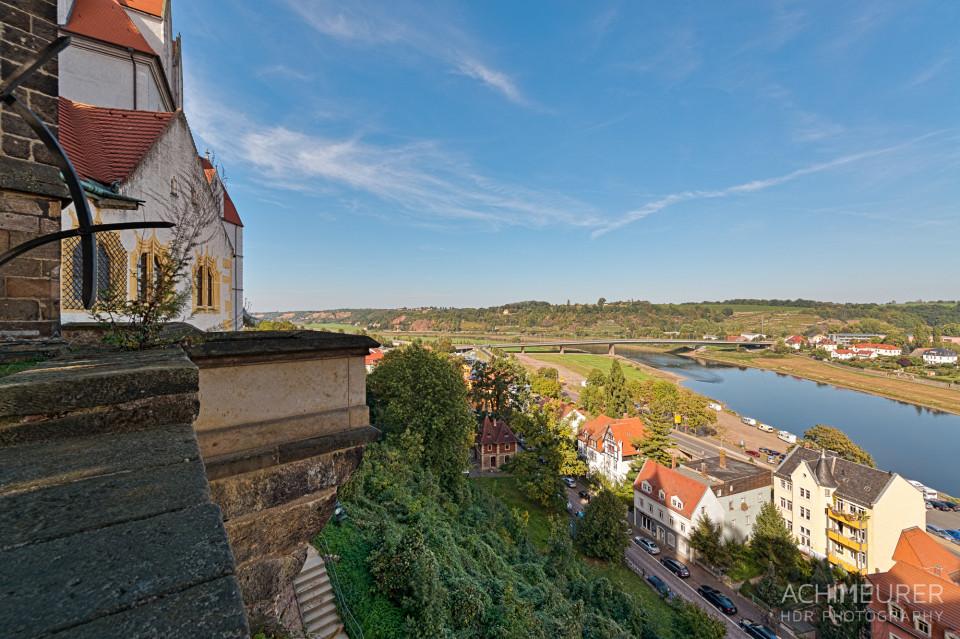 Ausblick vom Burgensemble auf Meißen und die Elbe