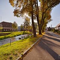 Herbststimmung in Oberlausitz mit Umgebindehäuser