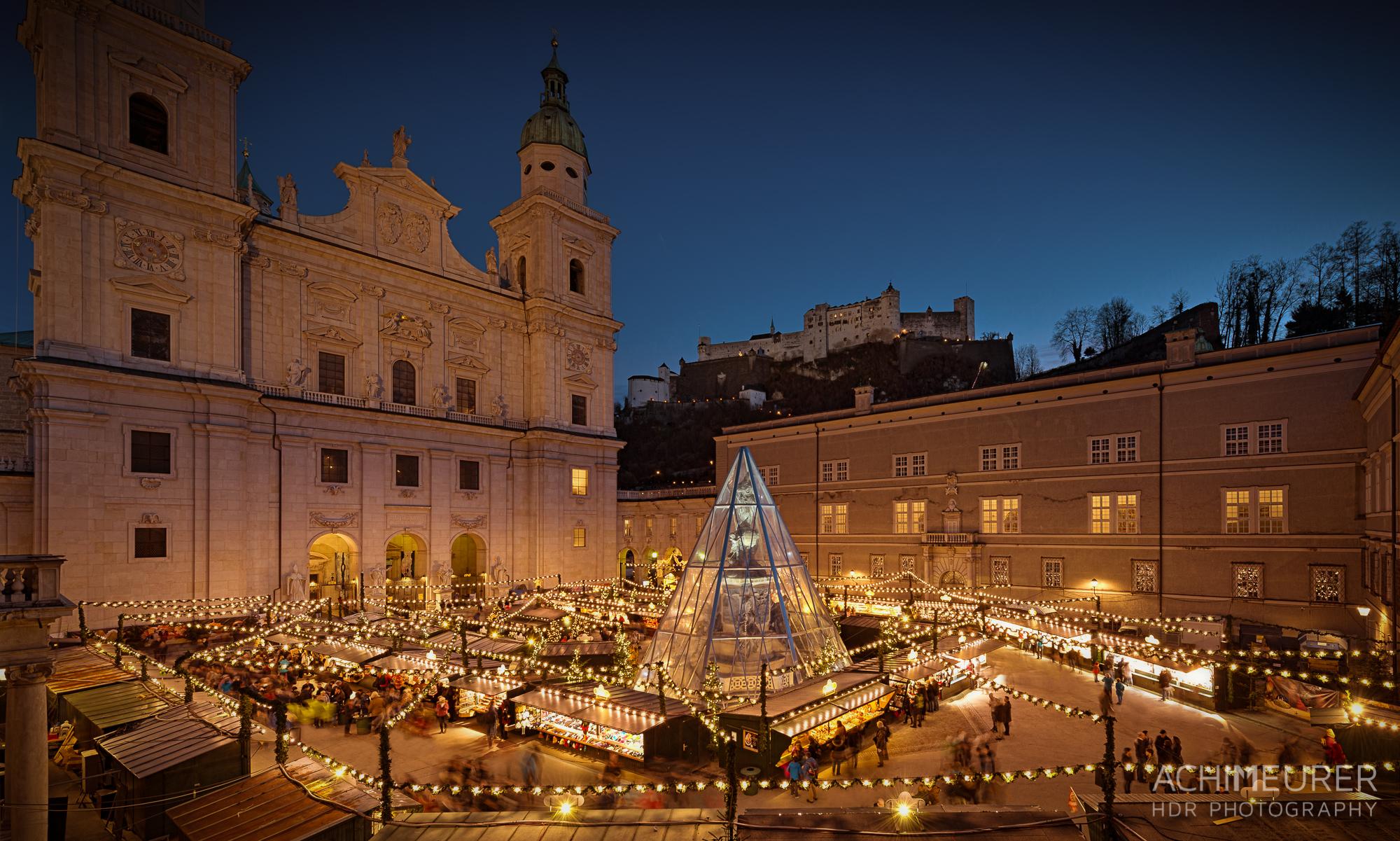 Weihnachtsmarkt Salzburg Domplatz HDR
