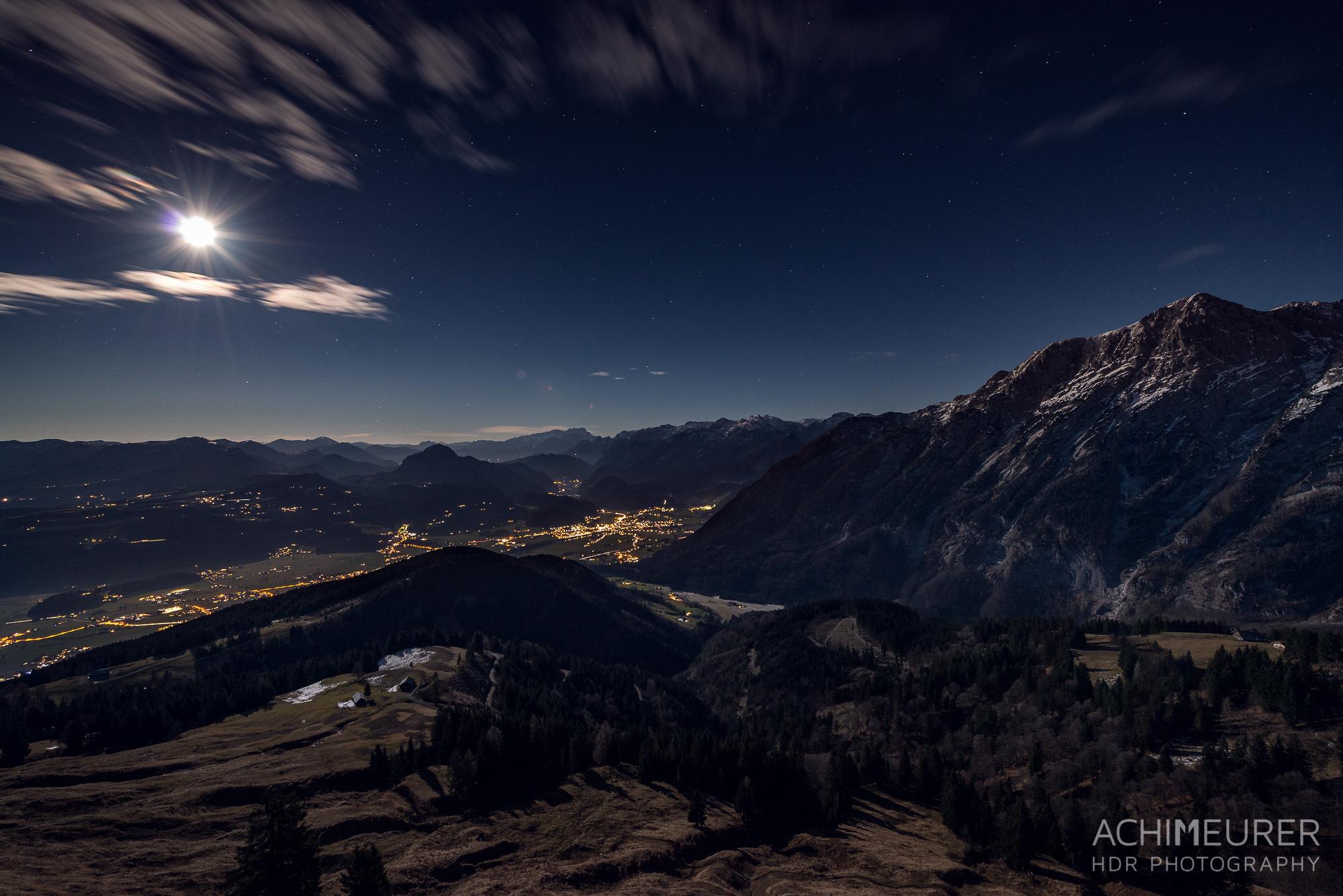 Roßfeld Panoramastraße Nachtaufnahme Heilig Abend Vollmond
