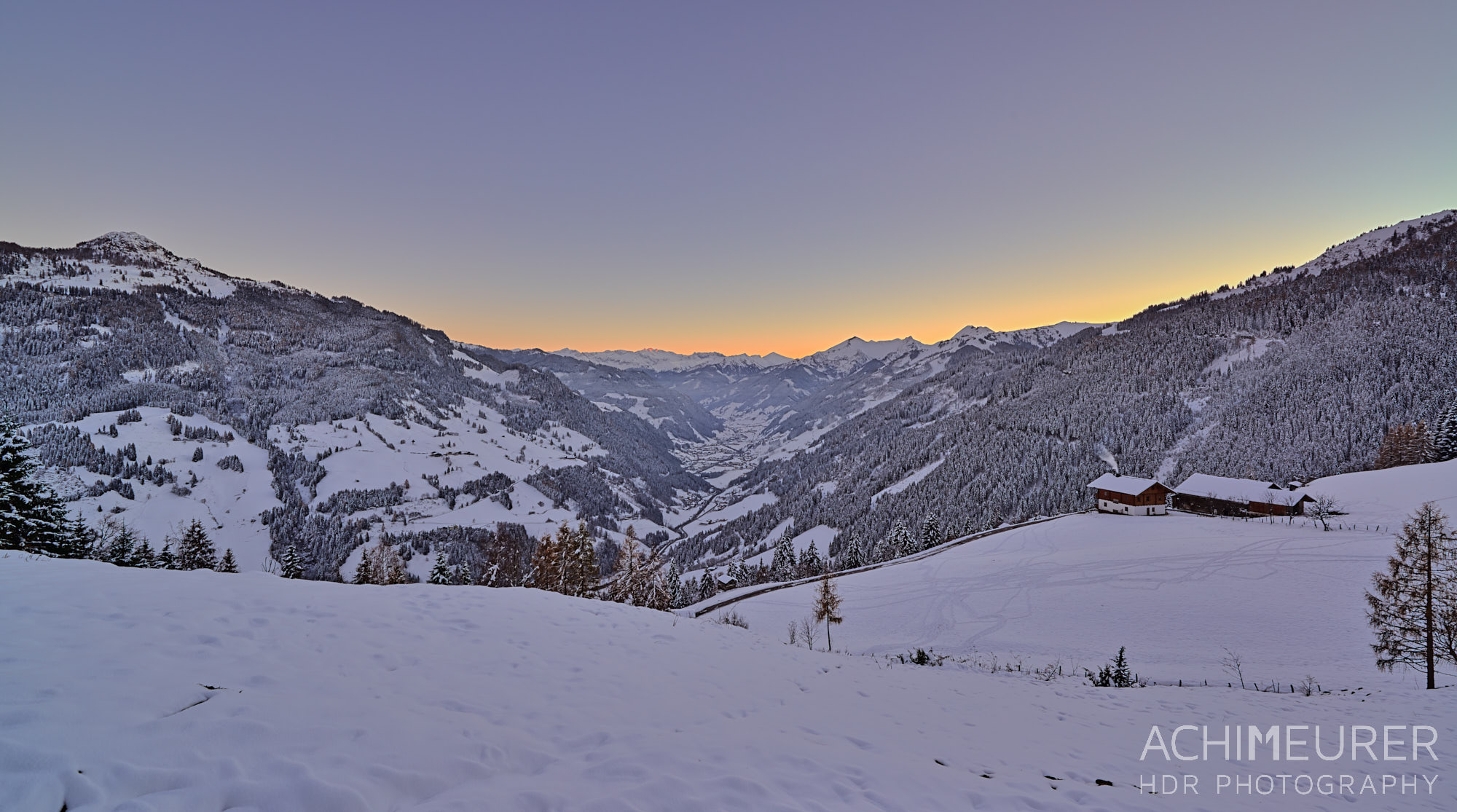 winter-landschaft-sonnenuntergang-grossarl-salzburgerland_7163_hdr by Array.