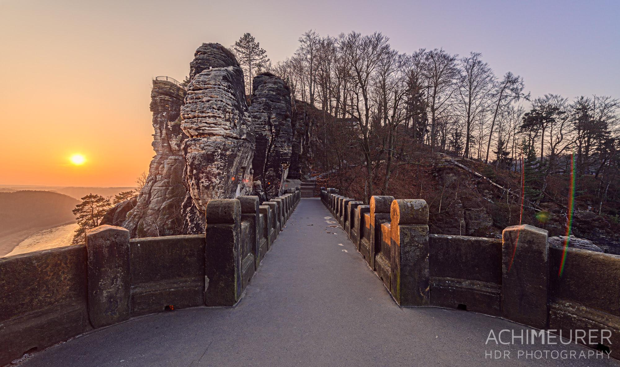 Sonnenuntergang an der Bastei im Winter, Sächsische Schweiz by AchimMeurer.com.